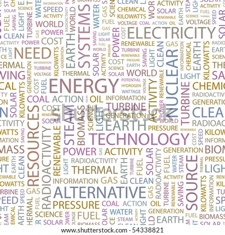 ENERGY. Seamless vector background. Wordcloud illustration. - stock vector