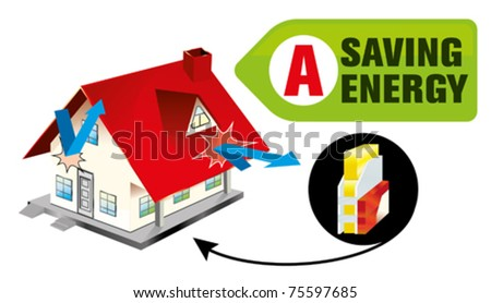 energy seving - building insulation - stock vector