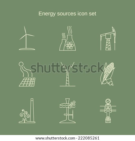 Energy sources contour icon set in light color - stock vector