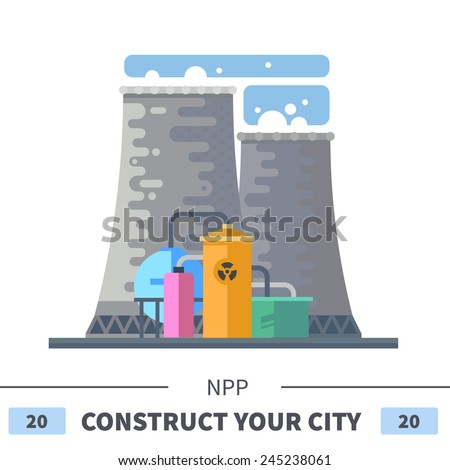 Energy station. Set of elements for construction of urban and village landscapes. Vector flat illustration - stock vector
