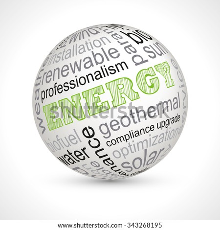 Energy theme sphere with keywords full vector