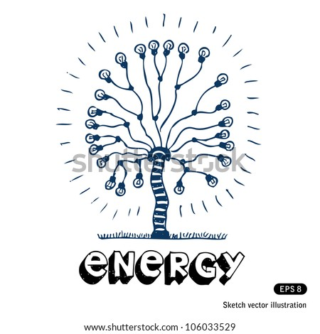 Energy tree of light bulbs. Hand drawn sketch illustration isolated on white background - stock vector