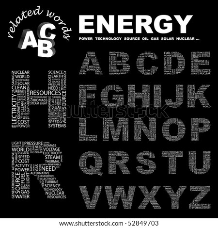 ENERGY. Wordcloud illustration. Vector letter collection. - stock vector