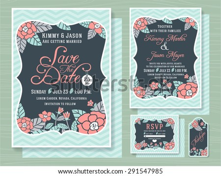 Engagement invitation template with topical flower design in soft sea foam green color tone 5x7 inches size,Save the date card  5x7 inches size, respond card 5x4 inches and gift tags included  - stock vector