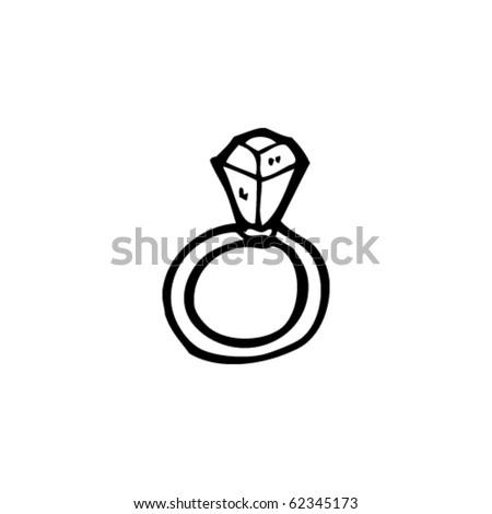 engagement ring cartoon - stock vector