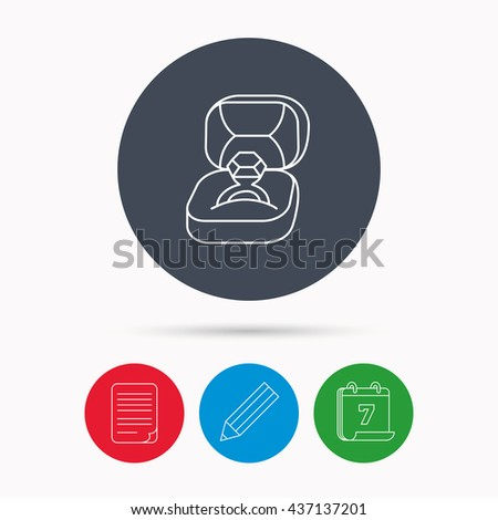 Engagement ring icon. Jewellery box sign. Calendar, pencil or edit and document file signs. Vector - stock vector