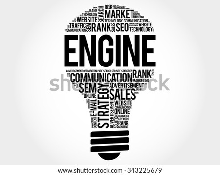 ENGINE bulb word cloud, business concept - stock vector