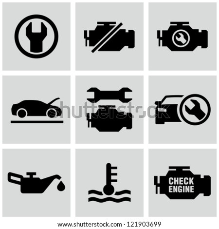 Engine, car dashboard icons set. - stock vector
