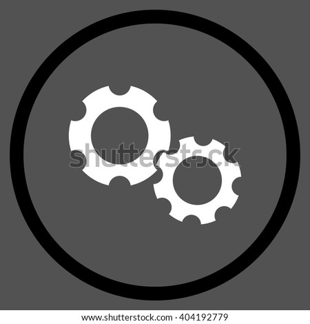 Engine Components vector bicolor icon. Picture style is flat gears rounded icon drawn with black and white colors on a gray background. - stock vector