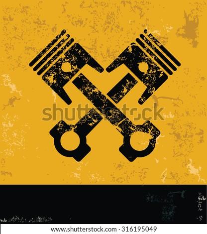 Engine concept design, yellow grunge vector - stock vector
