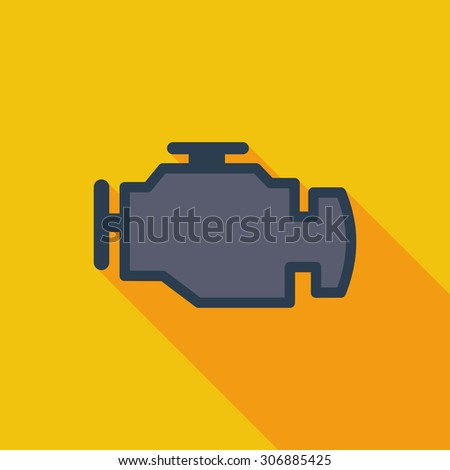 Engine icon. Flat vector related icon with long shadow for web and mobile applications. It can be used as - logo, pictogram, icon, infographic element. Vector Illustration. - stock vector