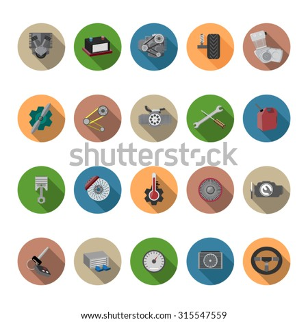 Engine icons set in flat design with long shadow. Illustration EPS10 - stock vector