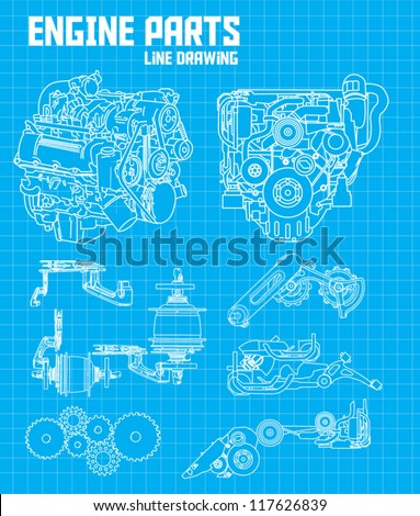 engine parts - stock vector