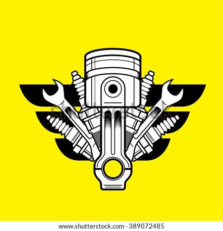 car service vector logo piston spark stock vector