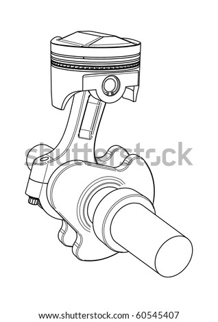 Engine piston and crank-shaft - vector drawing - stock vector