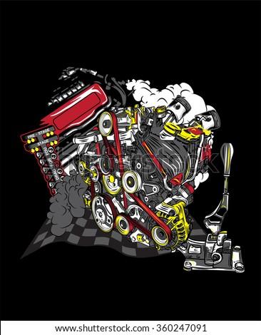 Engine Racing Team Motocross Logo, T Shirt Design,Eps10 File.