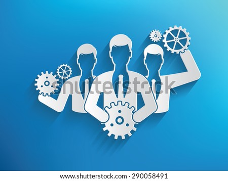 Engine team,human resource design on blue background,clean vector - stock vector