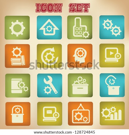 Engineer and building icons,vintage style,vector - stock vector