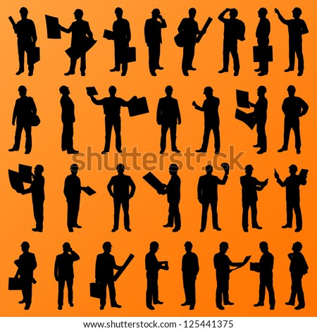 Engineer and construction site people, worker, manager, boss, director detailed silhouettes illustration collection background vector - stock vector