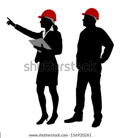 engineer and foreman working together silhouettes - stock vector