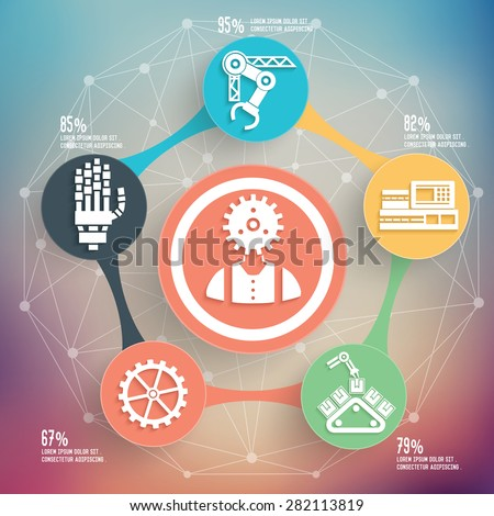 Engineer and industry design on blur background,info graphic design,clean vector - stock vector