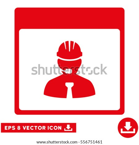 Engineer Calendar Day icon. Vector EPS illustration style is flat iconic symbol, red color.