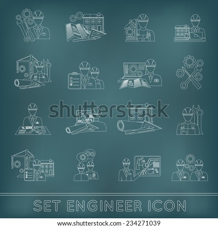 Engineer construction equipment industrial process technician workers with fixing tools icons outline set isolated vector illustration - stock vector