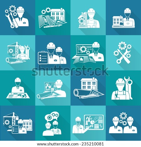 Engineer construction equipment technician workers with fixing tools and gears icons white set isolated vector illustration - stock vector
