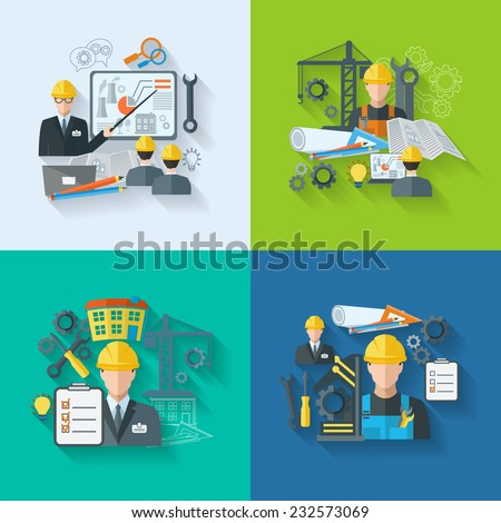Engineer construction manufacturing workers with gears drafts and tools flat icons set isolated vector illustration - stock vector