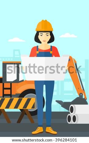 Engineer holding a blueprint. - stock vector
