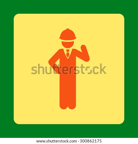 Engineer icon. Vector style is orange and yellow colors, flat rounded square button on a green background.