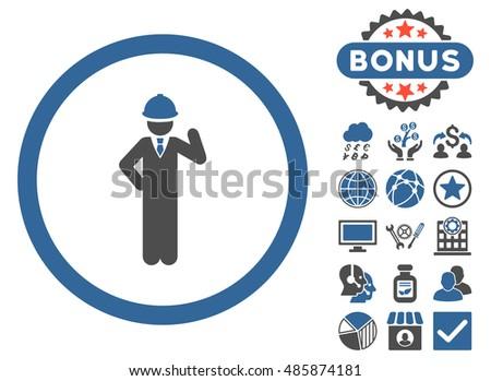 Engineer Icon Bonus Symbols Vector Illustration Stock Vector