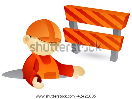 engineer illustration coming out from a street hole. roadblock in background - stock vector