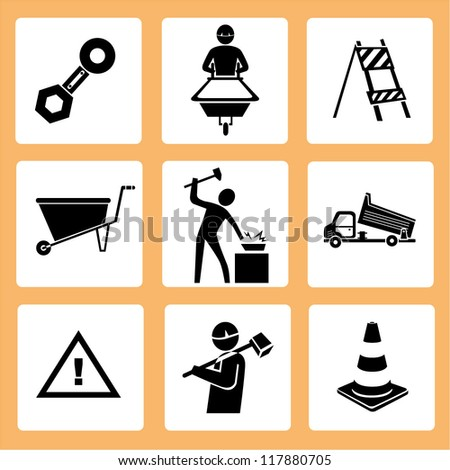 engineer in a construction site, manufacturing set, workshop icon set