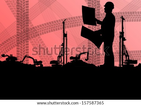 Engineer man with excavator loaders and tractors digging at industrial construction site vector background illustration - stock vector