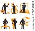 Engineer Mechanic  Electrician Wireman  Construction Architect    Pictogram Symbol Icon - stock photo