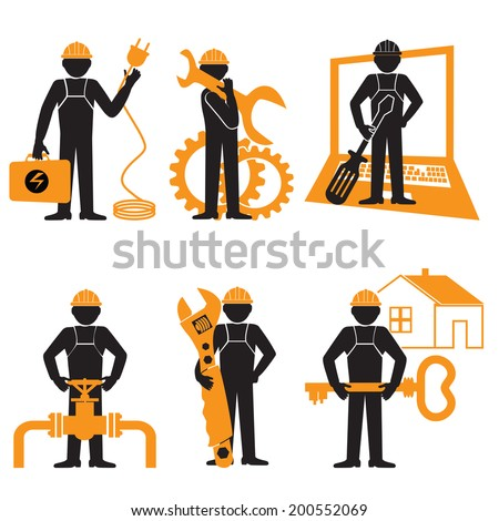 Engineer Mechanic  Electrician Wireman  Construction Architect    Pictogram Symbol Icon - stock vector