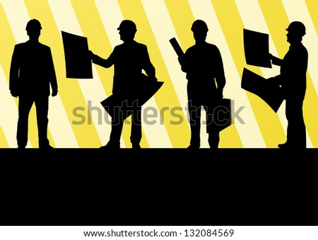 Engineer men people detailed construction site worker silhouettes illustration collection background vector - stock vector