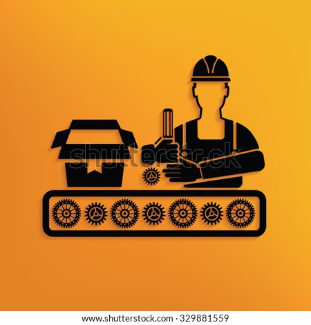 Engineer on yellow background,clean vector - stock vector