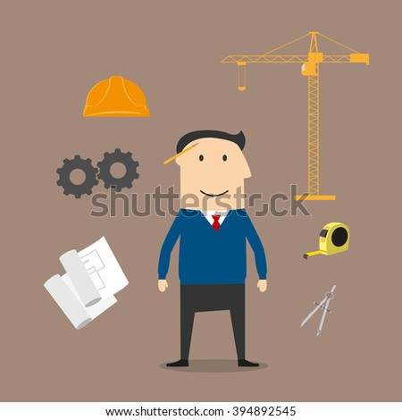 Engineer profession and construction industry icons with engineer man surrounded by yellow helmet and blueprint, tower crane and caliper, ruler, gears and roulette icons. Flat style - stock vector