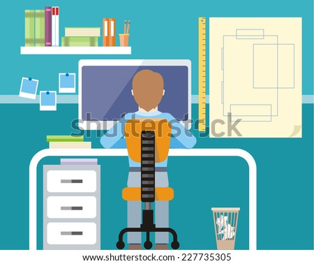Engineer sitting on chair at table in front of computer monitor and stand with drawing plan cartoon flat design style - stock vector