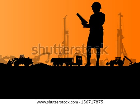 Engineer woman with excavator loaders and tractors digging at industrial construction site vector background illustration - stock vector