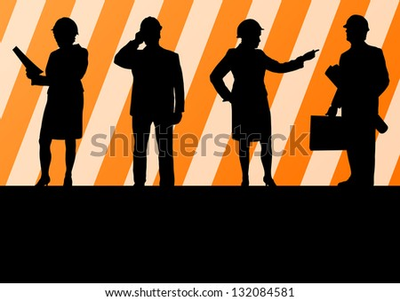 Engineer women and men people detailed construction site worker silhouettes illustration collection background vector - stock vector