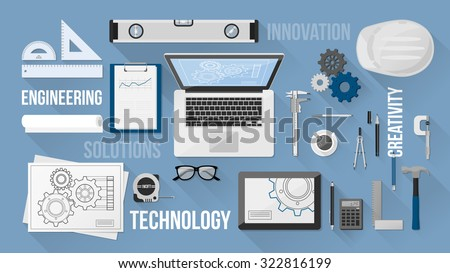 Engineer work desk with objects and text concepts, top view - stock vector
