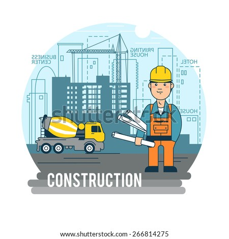 Engineer working on a construction site. - stock vector