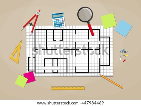 Engineer workspace. blueprint. Engineering drawing project, Sketching building. ruler, calculator. vector illustration in flat style on brown background - stock vector