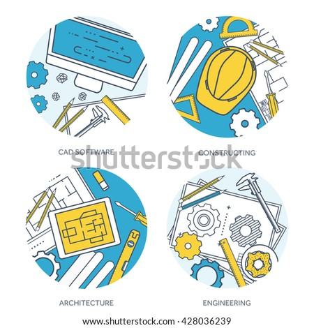 Engineering and architecture design.Flat outline style.Stroke,lines.Drawing,mechanical engineering.Building construction,trends in design or architecture.Engineering workplace.Industrial architecture. - stock vector