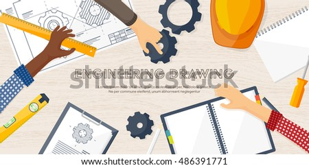 Engineering And Architecture DesignFlat StyleTechnical Drawingmechanical EngineeringBuilding Construction