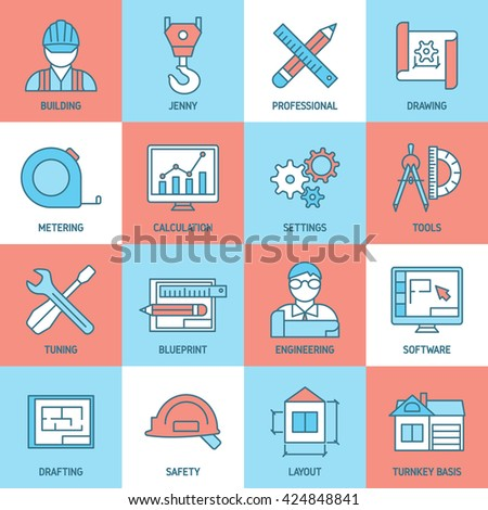 Engineering and blueprint icons set with safety tuning software meter building drafts calculation crane isolated vector illustration - stock vector