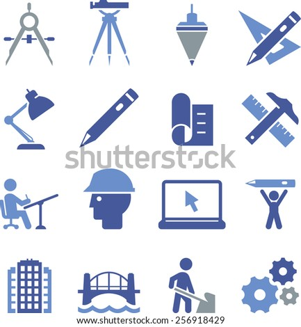 Engineering and drafting icons.  - stock vector